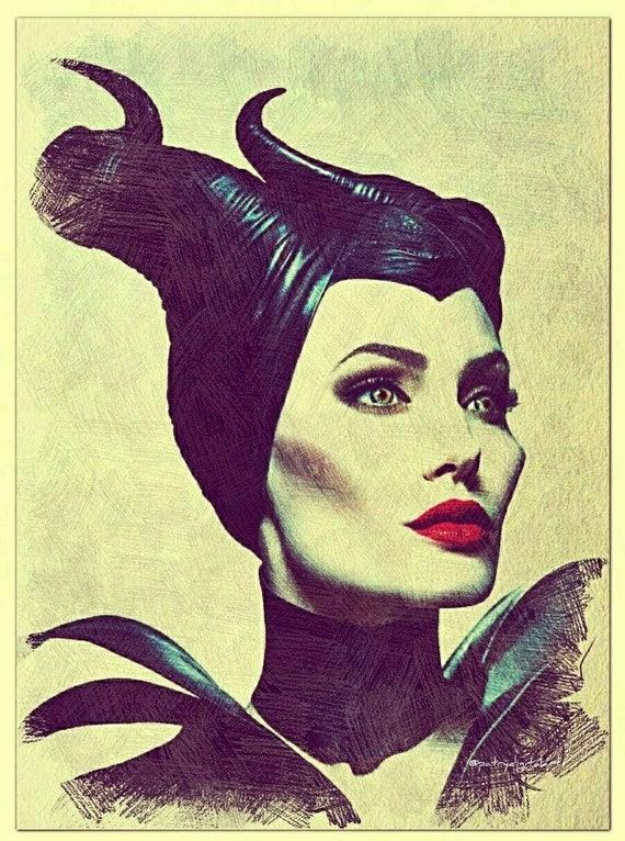 Maleficent Disegno A Matita Colorata Stampa Artistica Etsy