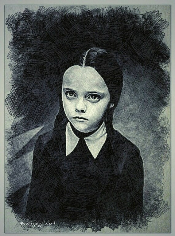 Mercoledi Addams Disegno A Matita Stampa Artistica Etsy