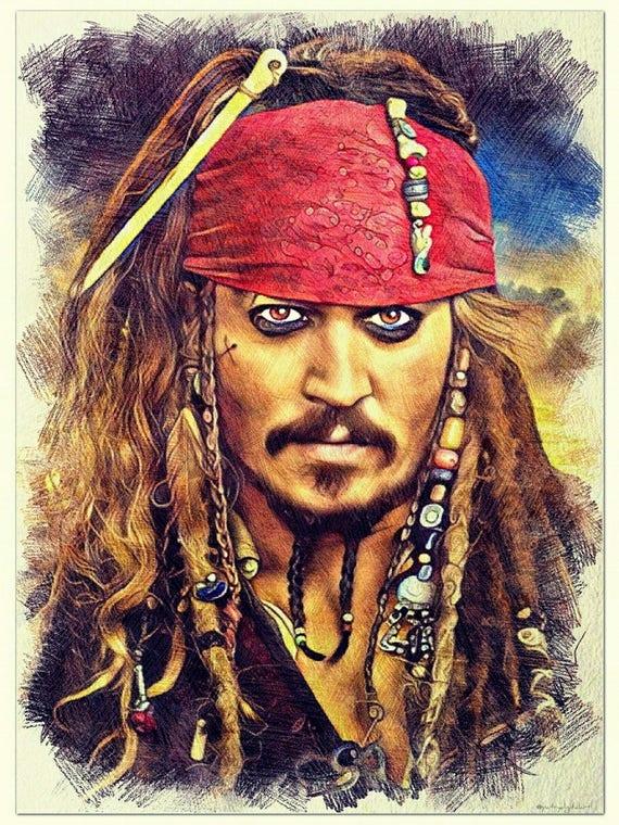 Pirati Dei Caraibi Disegno.Jack Sparrow Pirati Dei Caraibi Disegno A Matita Colorata Etsy