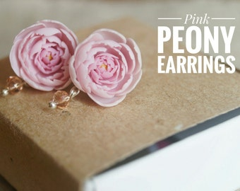 Bridesmaid peony Light pink peony earrings Pink peony stud earrings Peony jewelry Gift from bride Bride wedding gift Mother of the bride