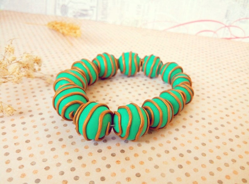 Autumn woodland statement beaded jewelry Fairytale personalized birthday gift Green turquoise rustic nature bracelet
