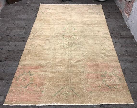 Oushak Teppich 5 5x9 1ft Beige Turkischen Teppich Beunruhigt Etsy