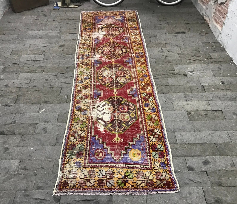 Free Shipping Antiques Red Runner Rug 3.3x9.4ft Pinkish Red Oushak Rug Muted Turkish