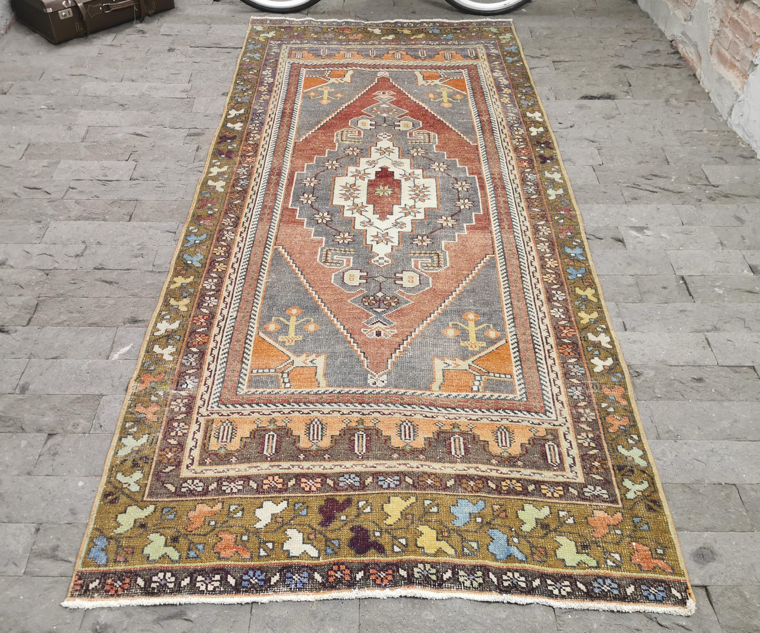 5.9x9.7 Area Rug Bohemian Rug Vintage Area Rug Orange Turkish Rug Oriental Rug Oushak Rug Large Area Rug Distressed Rug Muted Rug