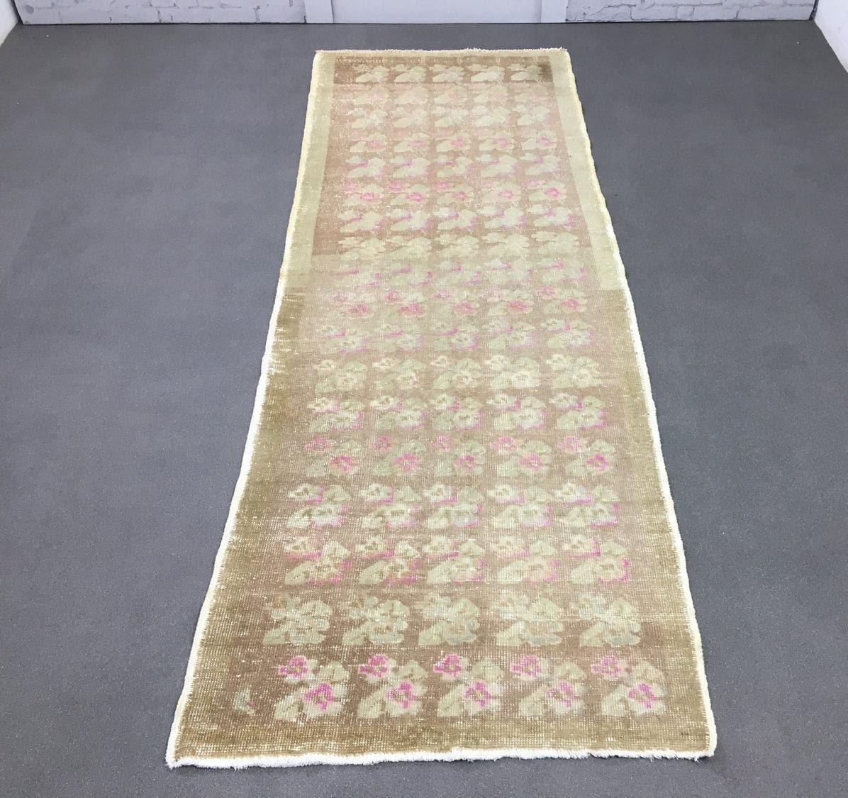SALE Pink Runner Rug 3.3x8.9ft Vintage Oushak Rug Flower