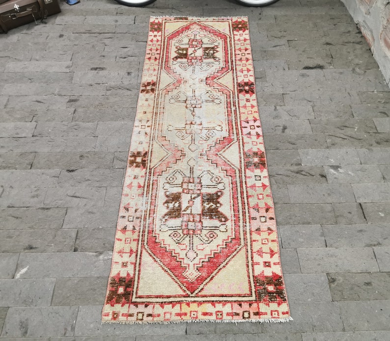 Handwoven Oushak Rug Red Runner Rug Distressed Rug Handmade image 0