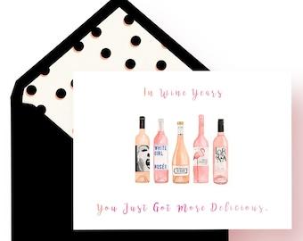 Birthday Card, Happy Birthday Card, Wine Card, Wine Birthday Card, Birthday Card for Her, Rosé Card, Rosé, Wine, Greeting Card, Alcohol Card