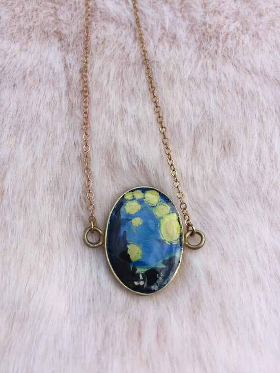 Necklace painted by hand stared night.