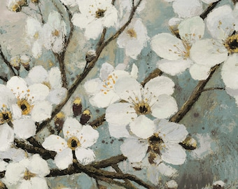 "Giclee Canvas Wall Art ""Cherry Blossoms I BLUE"" by James Wienes"