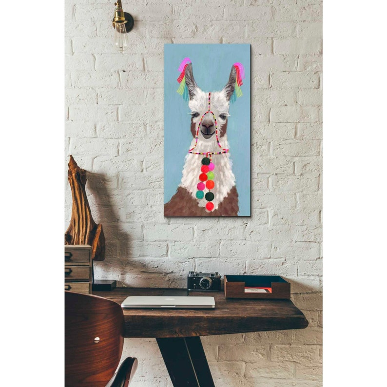 Giclee Canvas Wall Art /'Adorned Llama I/' by Victoria Borges