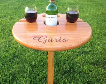 Best Wine Table (folding /portable) Unique gift for wine-lovers, personalized gift, wedding, anniversary, retirement, birthday, housewarming
