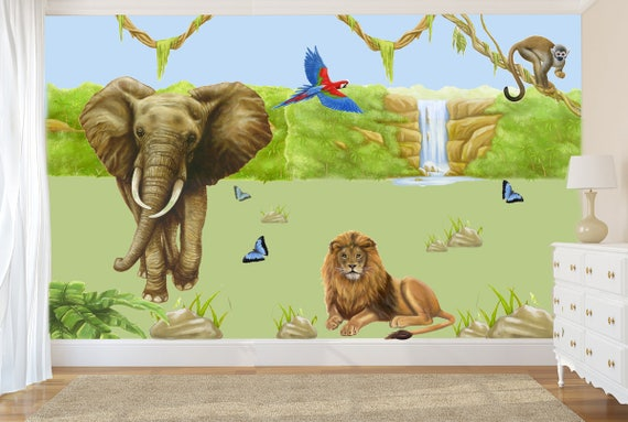 Jungle Mural Jungle Decals Jungle Wall Decal Lion Decal Etsy