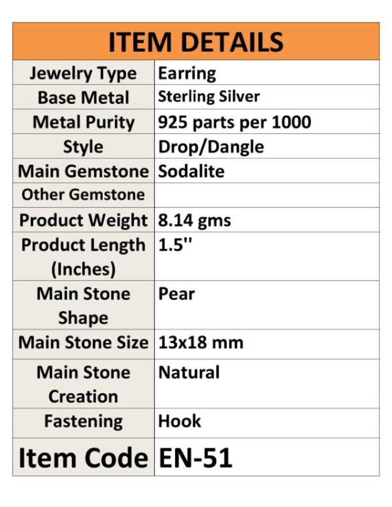 Sodalite Earring Gemstone Natural Handcraft Solid 925 Sterling Silver Earring Jewelry Drop Dangle Earrnig EN51