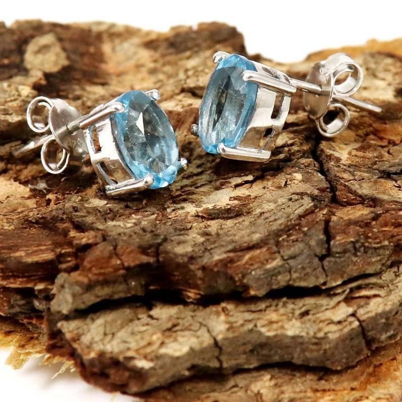 Oval Shape Blue Topaz Natural Gemstone Sterling Silver Earring Jewelry Ek-23 Stud Earring Fashion Jewelry