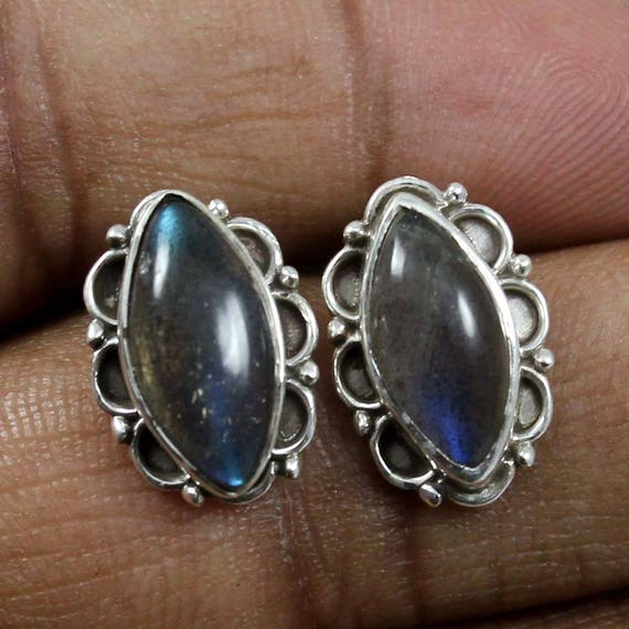 Marquise Cut Stone Stud Style Earing Labradorite PRIVAA Natural Stone