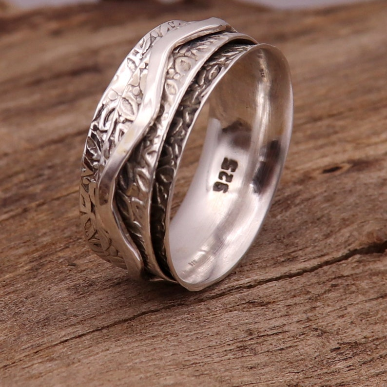 Spinner Ring Solid 925 Sterling Silver Band Meditation Ring All Size Men Women Gift Item Statement Ring GESR215