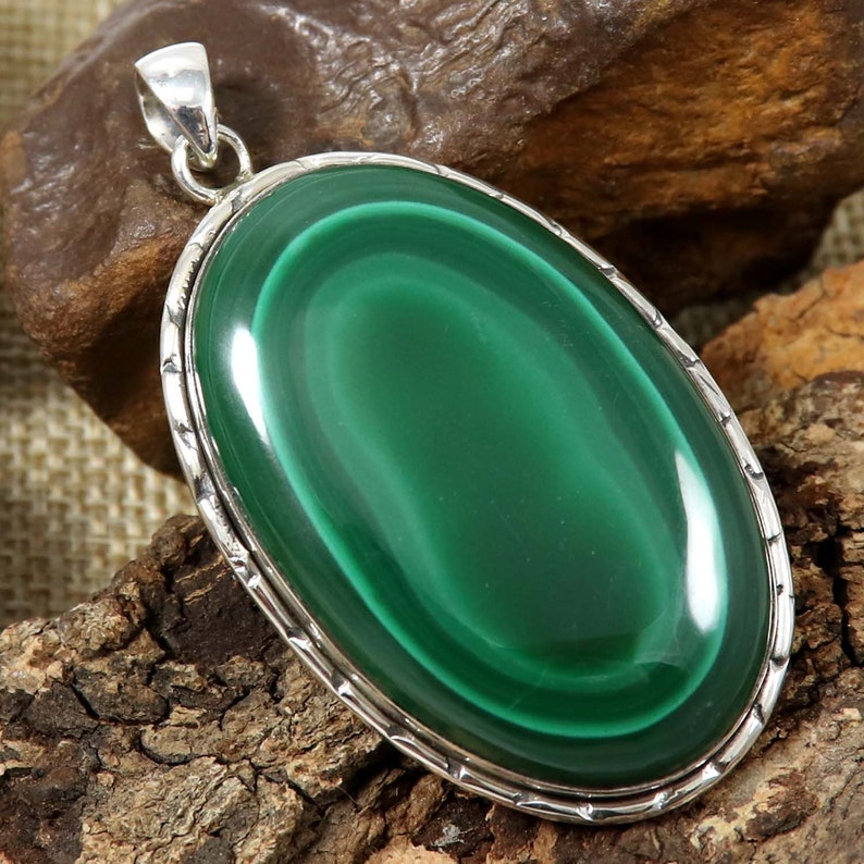 Silver Pendant Jewelry Natural Malachite Gemstone Cabochon Solid 925 Sterling Handcraft Jewellry Necklaces PH-48
