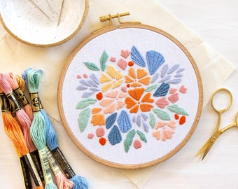 Floral Splash Embroidery Pattern. Beginner Embroidery Pattern DIY. Instant Download PDF.  Paradise Collection.