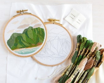 Somewhere to Lava Embroidery Kit. Hand Embroidery DIY Pattern and Kit. Island Tropical Vacation Landscape Design.