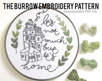 The Burrow Embroidery Pattern. Pattern Download. Harry Potter Quote. Embroidery Craft. Harry Potter Embroidery. Booklovers Gifts. DIY Gift.