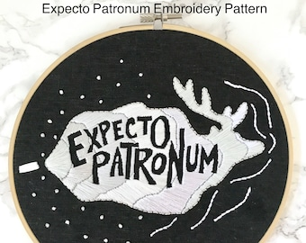 Expecto Patronum. Embroidery Pattern. Embroidery Pattern PDF. Patronus Art. Patronus Charm. Harry Potter Art. Harry Potter Decor. DIY Gift.