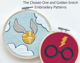 Golden Snitch. Double Pattern. Embroidery Pattern. Embroidery Pattern PDF. Harry Potter Glasses. Harry Potter Art. Harry Potter Decor.