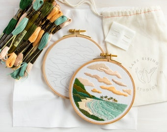 Hidden Beach Embroidery Kit. DIY Embroidery Pattern and Kit. Tropical Vacation Island Design. DIY Craft.