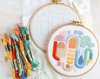 Over the Rainbow Embroidery Kit. Geometric Embroidery Pattern and Kit. Colorful DIY Craft.