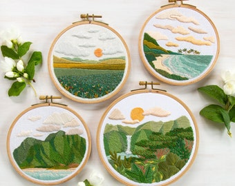 Landscape Embroidery Pattern Set of 4 Patterns. Beginner and Advanced Embroidery Patterns. DIY Embroidery. DIY Crafts