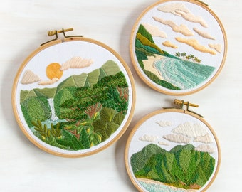 Landscape Embroidery Pattern Trio from The Paradise Collection. DIY Embroidery Patterns. DIY Craft. Instant Download PDF Pattern and Guide.