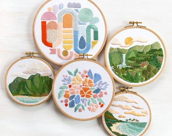 Paradise Pattern Complete Set. 5 DIY Embroidery Patterns. DIY Craft. Hand Embroidery Patterns. Digital Instant Download PDF files. Hawaii