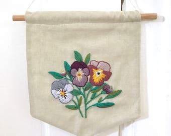 Pansy Floral Embroidery Art. Spring Home Decor. Hand Embroidered Pennant. Floral Wall Hanging. Fiber Art. Floral Nursery Decor. Floral Art.