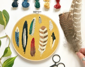 Feathers Embroidery Pattern. DIY Crafts. Nature Lovers Gift. Bird Lovers. Instant Download PDF Pattern. Home Decor DIY. Beginner Embroidery.