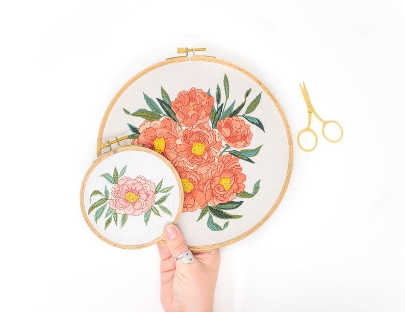 Peony Embroidery Pattern. DIY Craft Embroidery. Stitch Craft. image 0