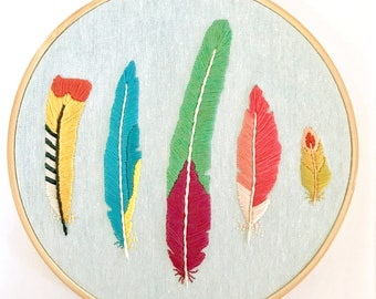 Tropical Feathers Embroidery Hoop Art. Tropical Birds Home Decor. Colorful Hand-Embroidered Wall Art. Flamingo Love Birds Wall Art.