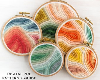 Marbled Embroidery Pattern. Digital Download PDF. Marbled Art. DIY Craft Project. Rainbow Art. Beginner Embroidery Pattern.
