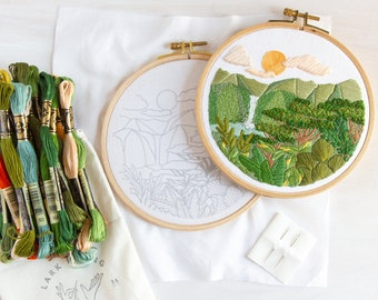 Abundance Advanced Embroidery Kit. Tropical Vacation Embroidery Pattern DIY Craft.