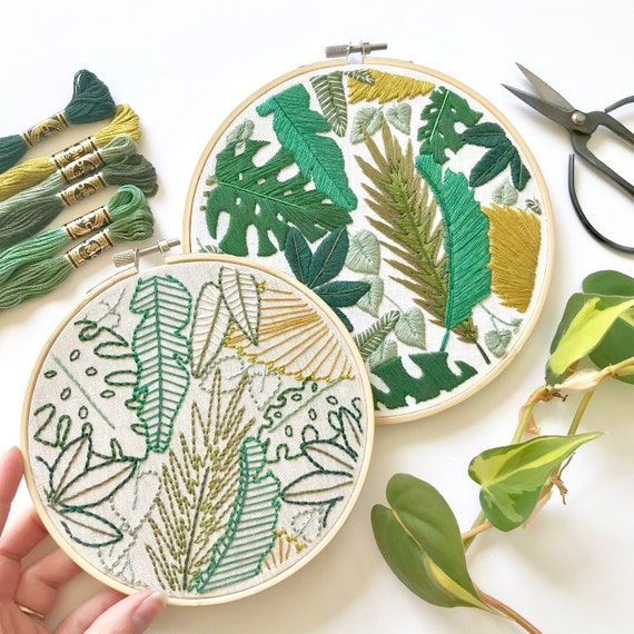 Welcome To The Jungle Embroidery Pattern Jungle Leaves Design Etsy