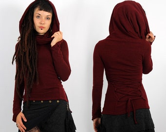 PULLOVER TOP, Fairy, Festival, Boho for Women, Alternative Clothing, big collar falling on shoulders, lacing-up, pointy longsleeves, hood