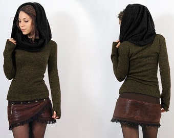 PULLOVER Bohemian, Festival for Women, Alternative Clothing, passage of thumbs at the end of sleeve, big collar, falling on shoulders, hood