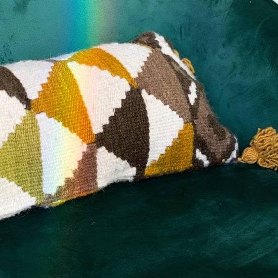 Kilim wool cushion/_Decorative Large Lumbar/_ Blue or Red/_Handmade