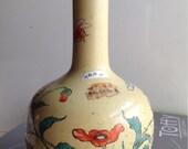 Mid Qing dynasty 39 Qianlong 39 mark beige under-glazed flowers painting vase Chinese antique dealer seal height 36cm 乾隆年制 黄地花卉天球瓶 高36cm