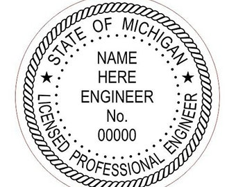 Custom Round Professional Engineer Michigan Stamp Style 3 Office StampRubber