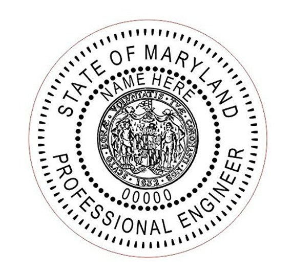 Custom Round Professional Engineer Maryland Stamp Style 8