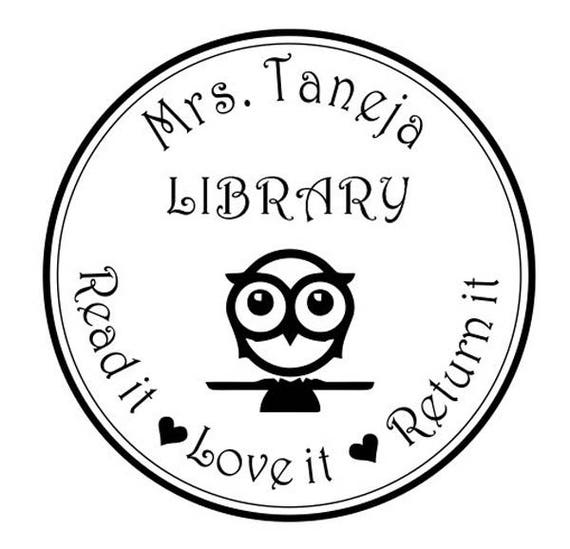 Teachers Stamp Custom Name From The Library Owl Logo