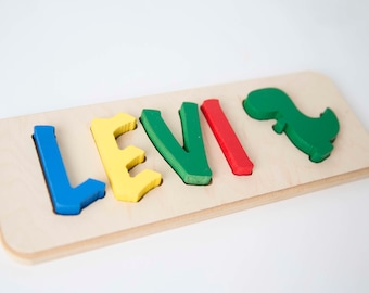 Dinosaur Toddler Name Puzzle with Dino - up to 9 letters