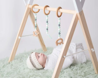 Modern Wooden Baby Activity Gym + hanging Toys