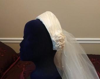 Vintage bridal headpiece and veil