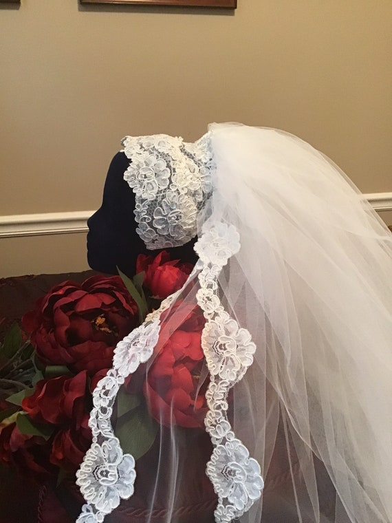 Bridal headpiece Juliet cap and veil vintage