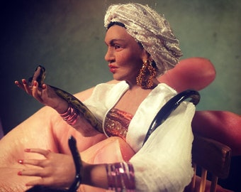 1:12 hand sculpted miniature doll of Marie Laveau, voodoo Queen, witch. OOAK by ALMA Artistry